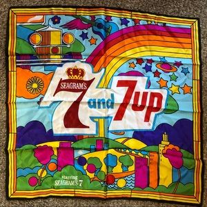 Vintage 70's Seagrams + 7up Psychedelic Scarf